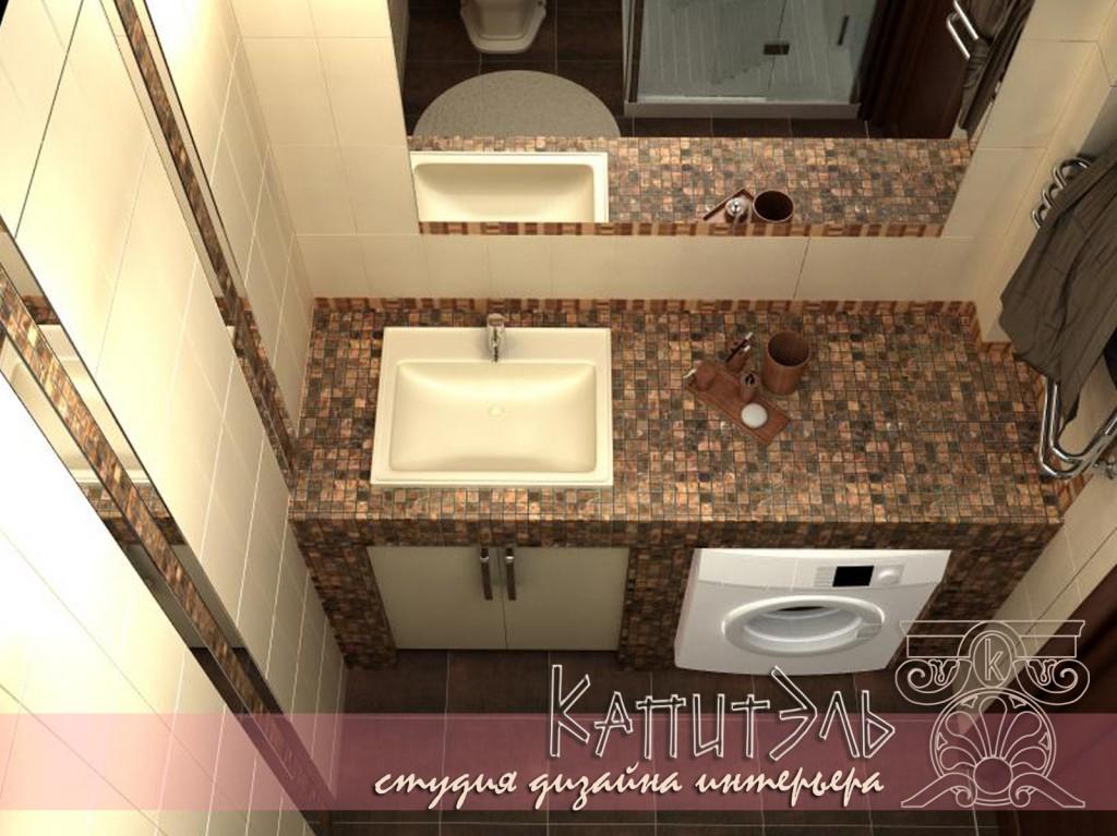 Дизайн ванной с угловой