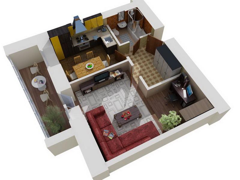 схема квартиры с мебелью
